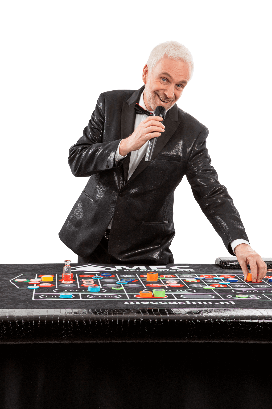 Michael Grey zingend roulette chips